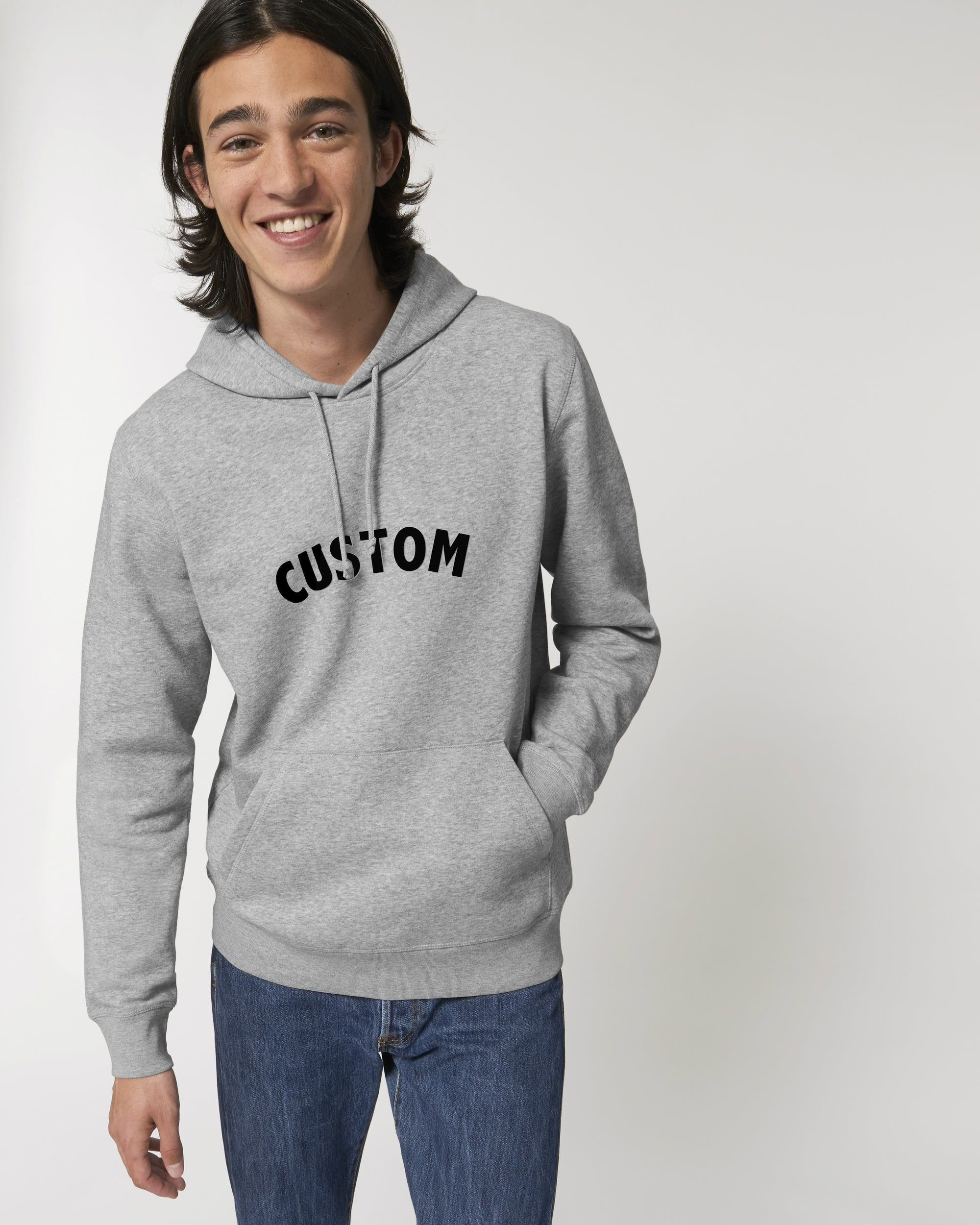 MEN'S MEDIUM FIT ORGANIC COTTON HOODIE - customisable centre chest embroidery