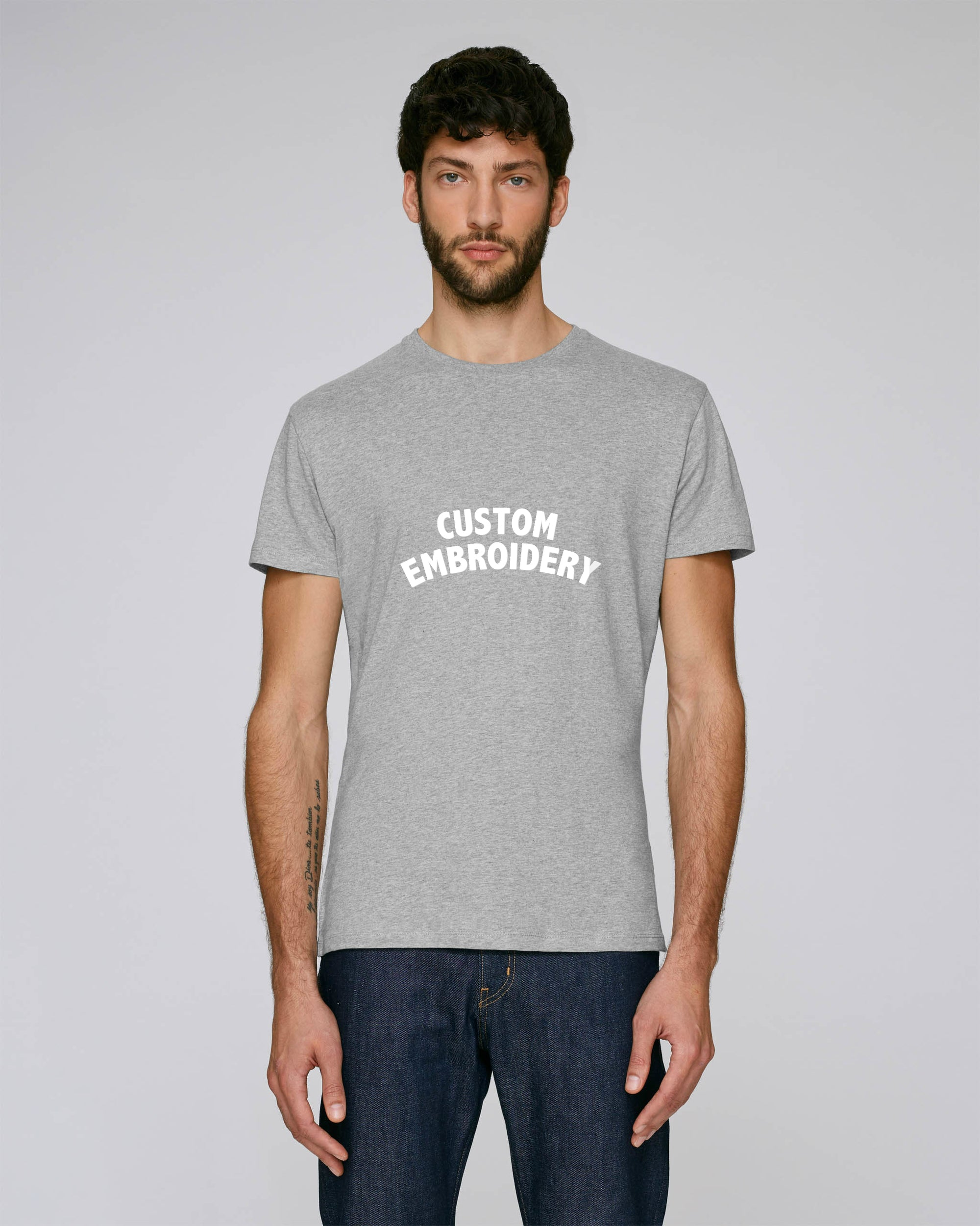 MEN'S FITTED ORGANIC COTTON 'FEELS' T-SHIRT - customisable centre chest embroidery