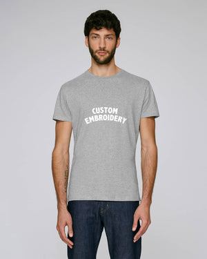 MEN'S FITTED ORGANIC COTTON T-SHIRT - customisable centre chest embroidery