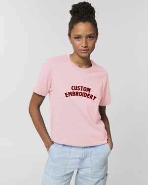 UNISEX MEDIUM FIT ORGANIC COTTON 'ROCKER' T-SHIRT - customisable centre chest embroidery