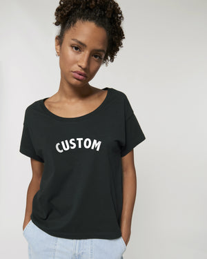 WOMEN'S SCOOP NECK RELAXED FIT ORGANIC COTTON 'CHILLER' T-SHIRT - customisable centre chest embroidery