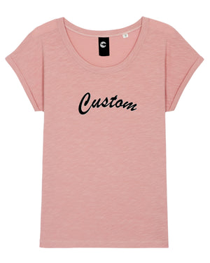 WOMEN'S ROLLED SLEEVE ORGANIC COTTON SLUB 'ROUNDERS' T-SHIRT - customisable centre chest embroidery