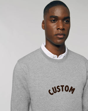 MEN'S ORGANIC COTTON CREW NECK 'CHANGER' SWEATSHIRT - customisable centre chest embroidery