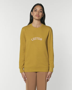 WOMEN'S BRUSHED ORGANIC COTTON CREW NECK SWEATSHIRT - customisable centre chest embroidery