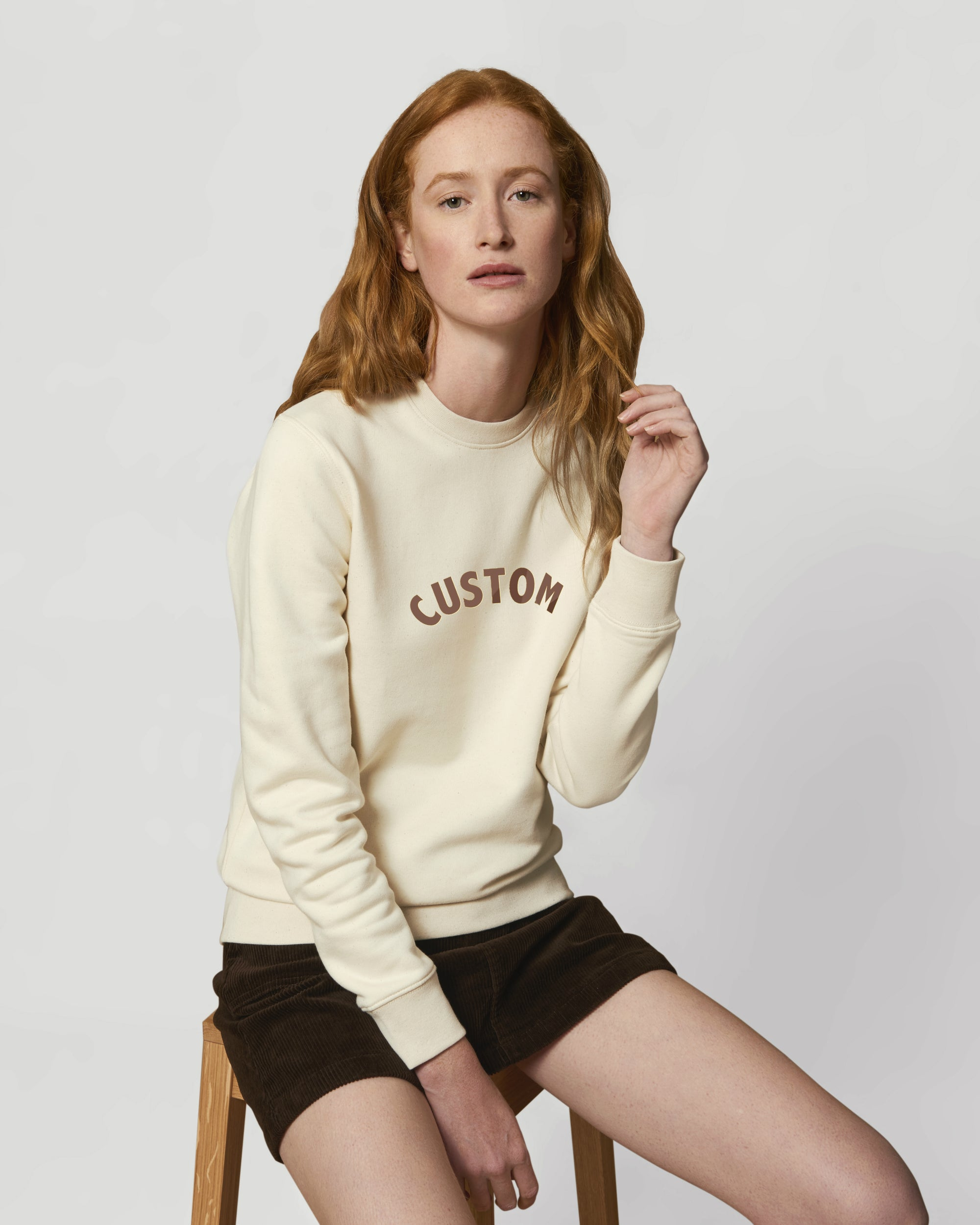 WOMEN'S BRUSHED ORGANIC COTTON CREW NECK 'CHANGER' SWEATSHIRT - customisable centre chest embroidery