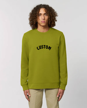 MEN'S ORGANIC COTTON CREW NECK SWEATSHIRT - customisable centre chest embroidery