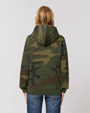 UNISEX CAMO PRINT ORGANIC COTTON HOODIE - customisable centre chest embroidery