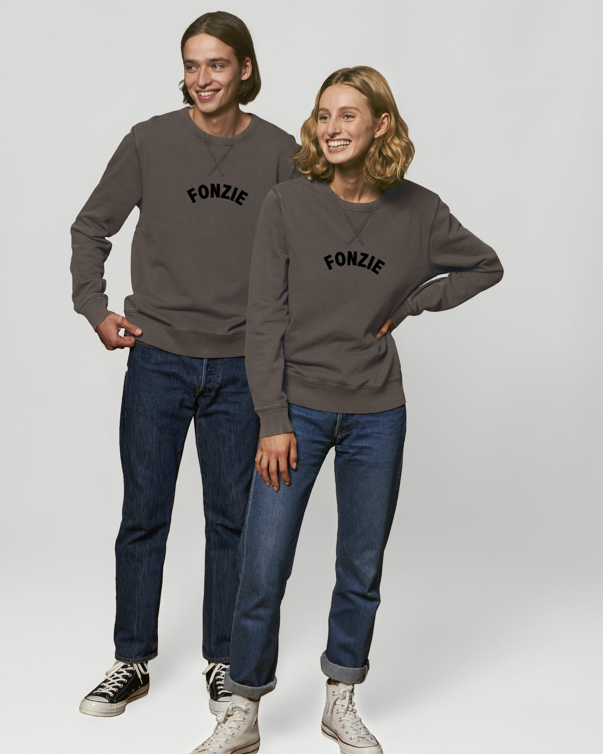 'FONZIE' EMBROIDERED UNISEX VINTAGE GARMENT DYED CREW NECK SWEATSHIRT