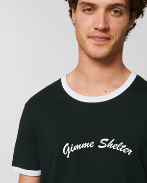 'GIMME SHELTER' EMBROIDERED MEN'S 70'S STYLE ORGANIC COTTON RINGER T-SHIRT