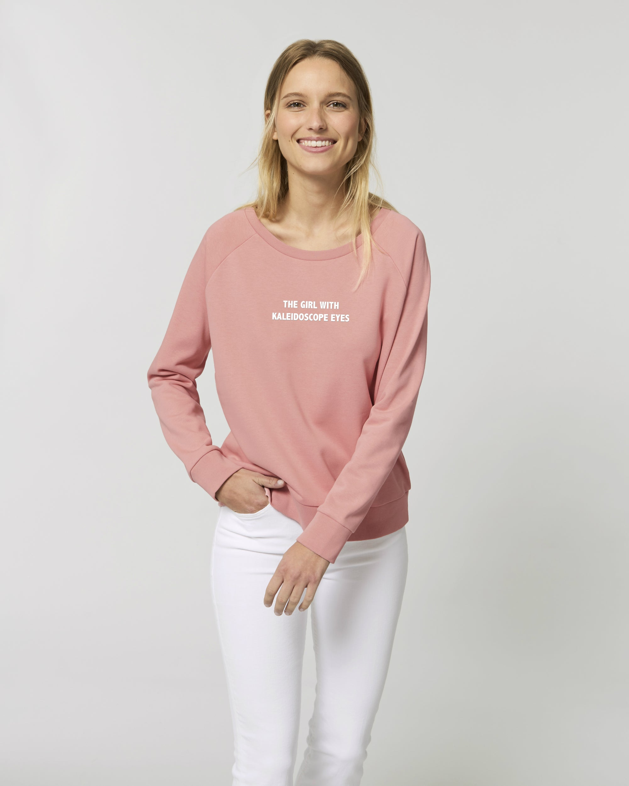 'THE GIRL WITH KALEIDOSCOPE EYES' EMBROIDERED WOMEN'S RELAXED FIT ORGANIC COTTON SWEATSHIRT