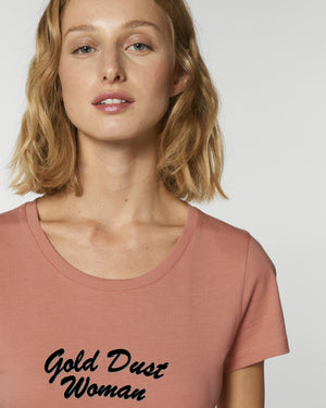 'GOLD DUST WOMAN' EMBROIDERED WOMEN'S FITTED ORGANIC COTTON T-SHIRT