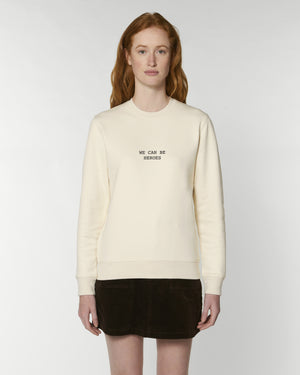 'WE CAN BE HEROES' EMBROIDERED ORGANIC COTTON UNISEX SWEATSHIRT