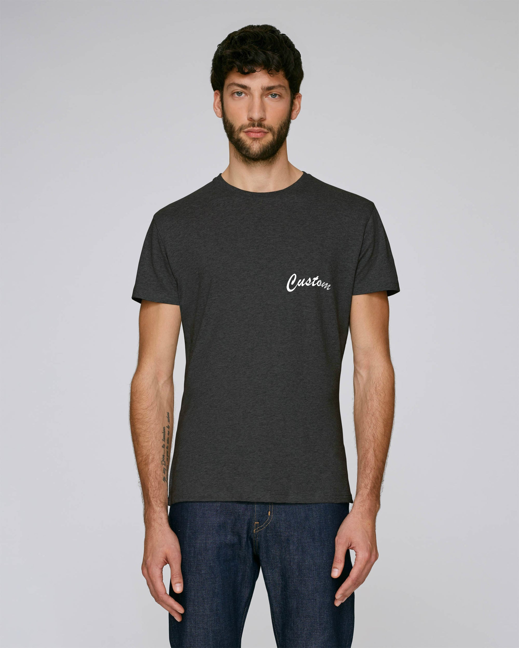 MEN'S FITTED ORGANIC COTTON 'FEELS' T-SHIRT - customisable left chest embroidery
