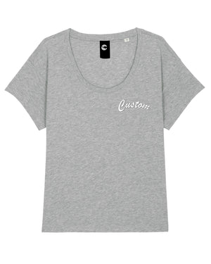 WOMENS SCOOP NECK RELAXED FIT ORGANIC COTTON T-SHIRT - customisable left chest embroidery