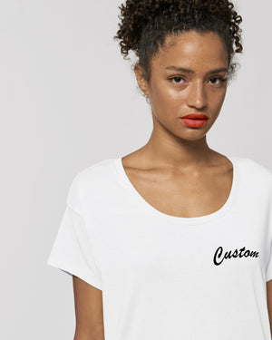 WOMENS SCOOP NECK RELAXED FIT ORGANIC COTTON 'CHILLER' T-SHIRT - customisable left chest embroidery