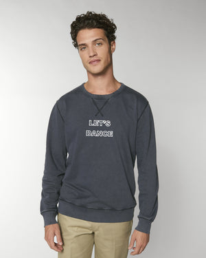 'LET'S DANCE' EMBROIDERED UNISEX VINTAGE GARMENT DYED CREW NECK SWEATSHIRT