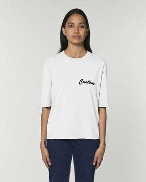 WOMEN'S BOXY ELBOW LENGTH SLEEVE HEAVY 'FRINGER' T-SHIRT - customisable left chest embroidery