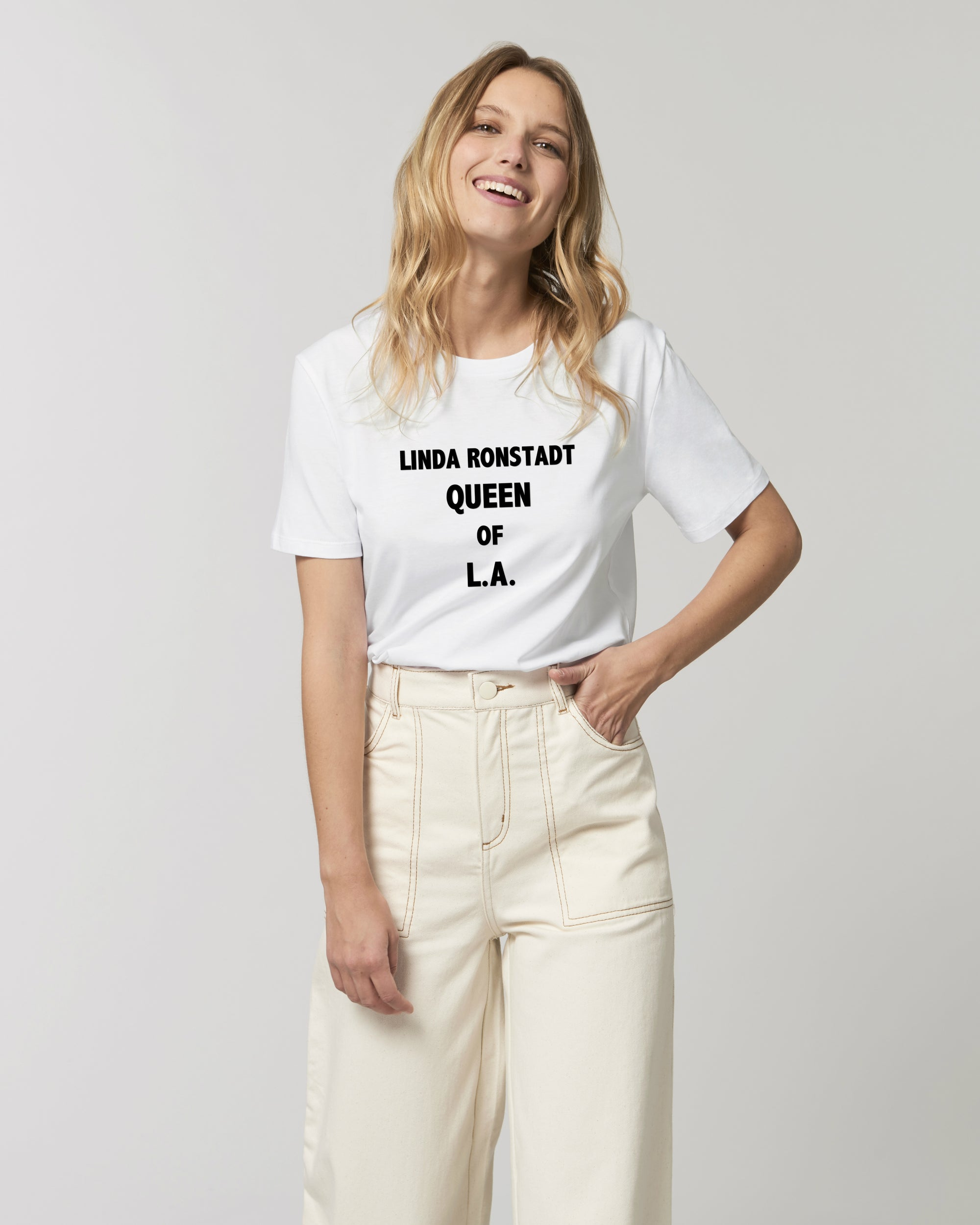 'LINDA RONSTADT QUEEN OF L.A.' EMBROIDERED FITTED ORGANIC COTTON UNISEX T-SHIRT