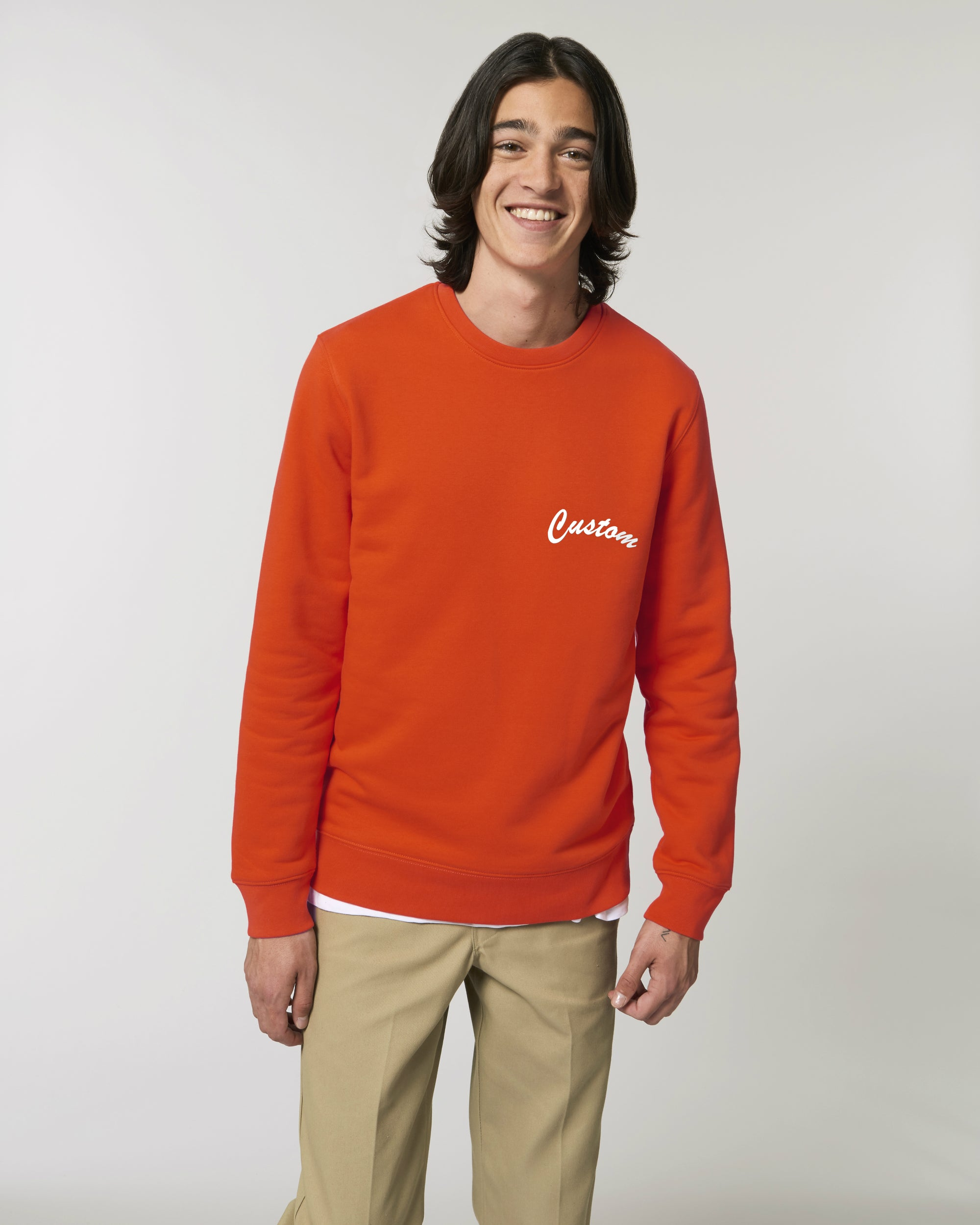 MEN'S ORGANIC COTTON CREW NECK SWEATSHIRT - customisable left chest embroidery