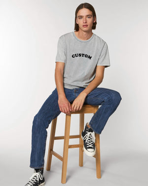 MEN'S GARMENT DYED ORGANIC COTTON 'CREATOR VINTAGE' T-SHIRT - customisable centre chest embroidery