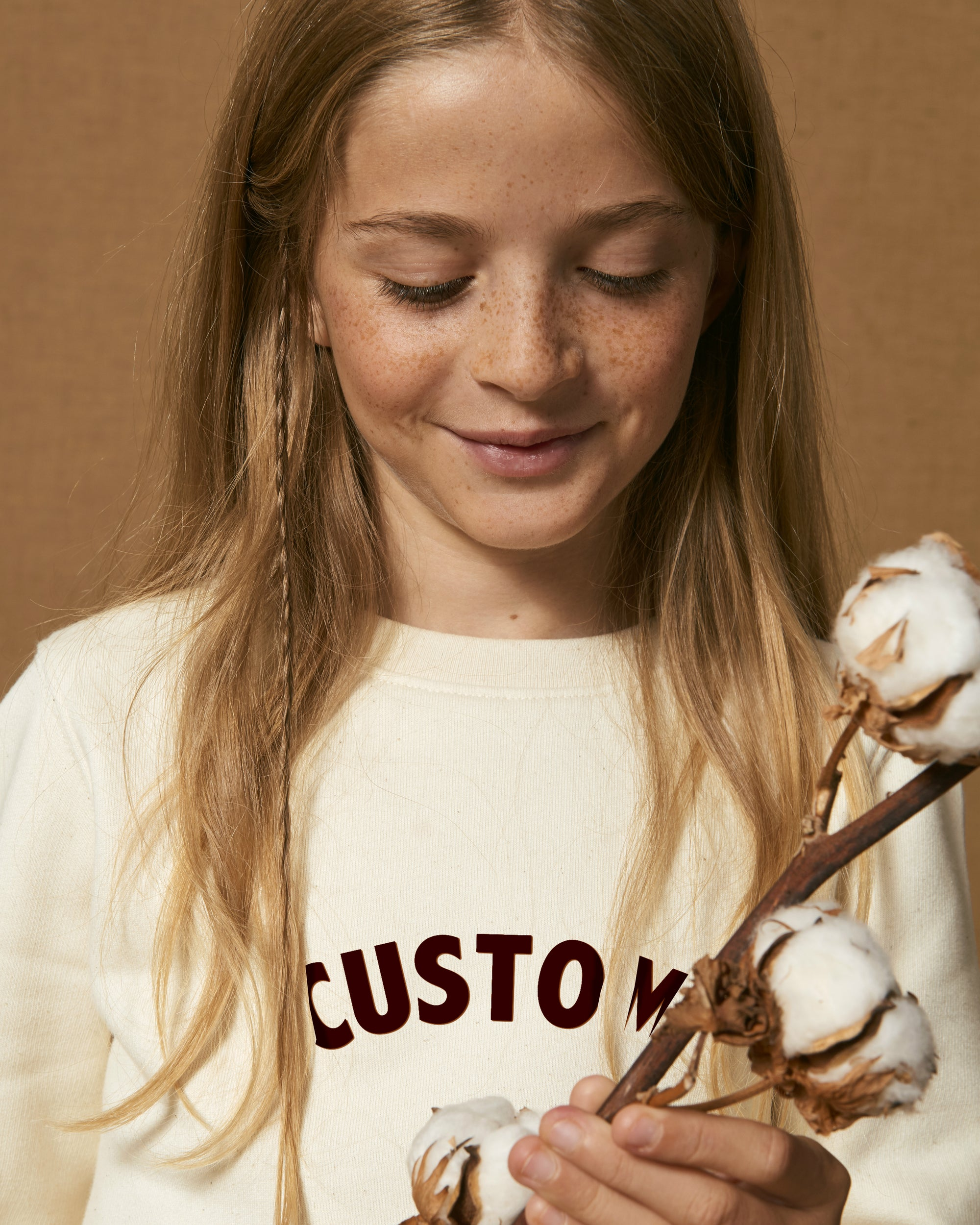 KIDS' ORGANIC COTTON CREW NECK SWEATSHIRT - customisable centre chest embroidery