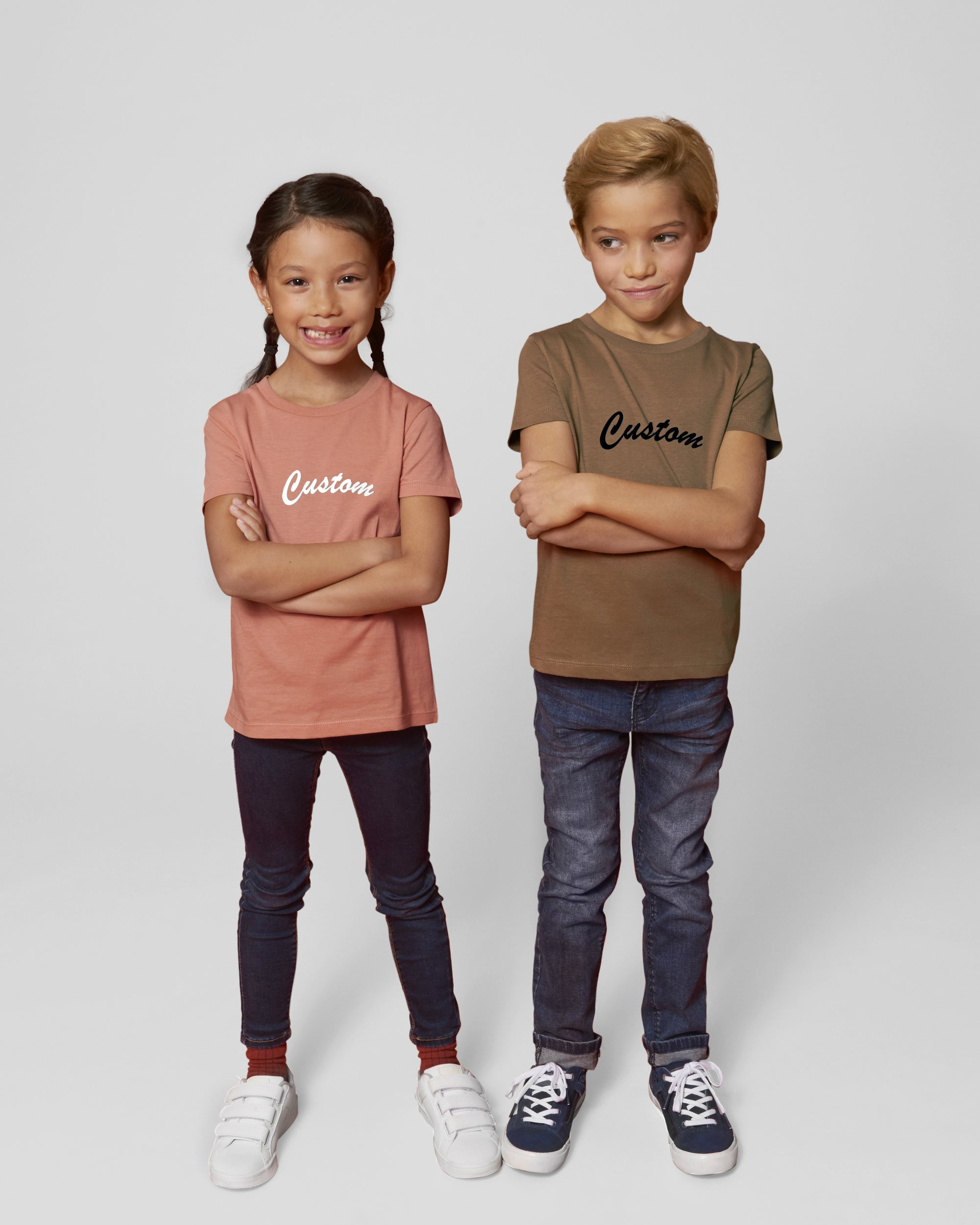KIDS' ORGANIC COTTON CREW NECK 'MINI-CREATOR' T-SHIRT - customisable centre chest embroidery