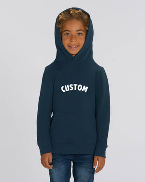 KIDS' ORGANIC COTTON HOODIE - customisable centre chest embroidery