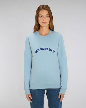'MR. BLUE SKY' EMBROIDERED ORGANIC COTTON UNISEX SWEATSHIRT