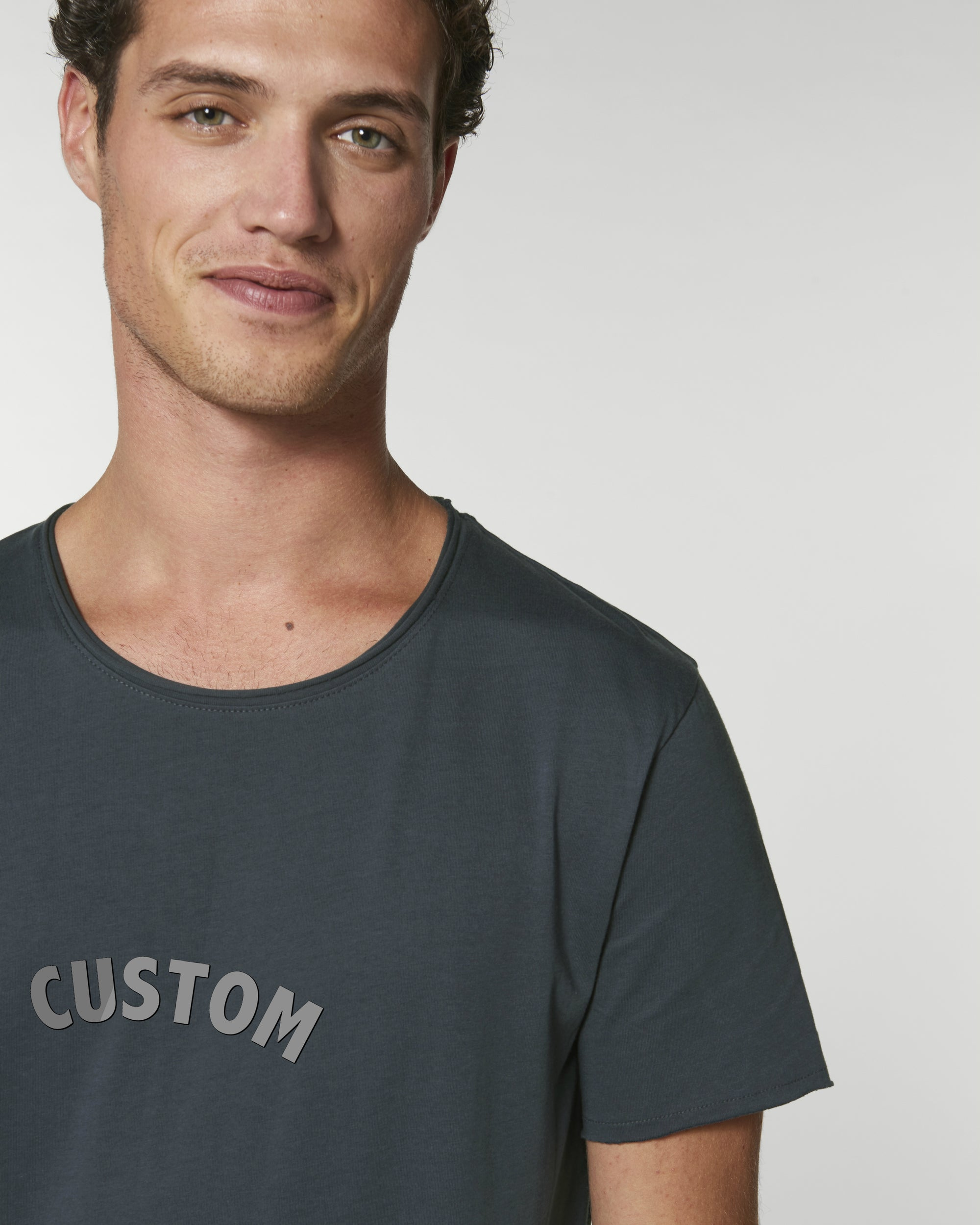 MEN'S RAW EDGE LONG LENGTH T-SHIRT - customisable centre chest embroidery