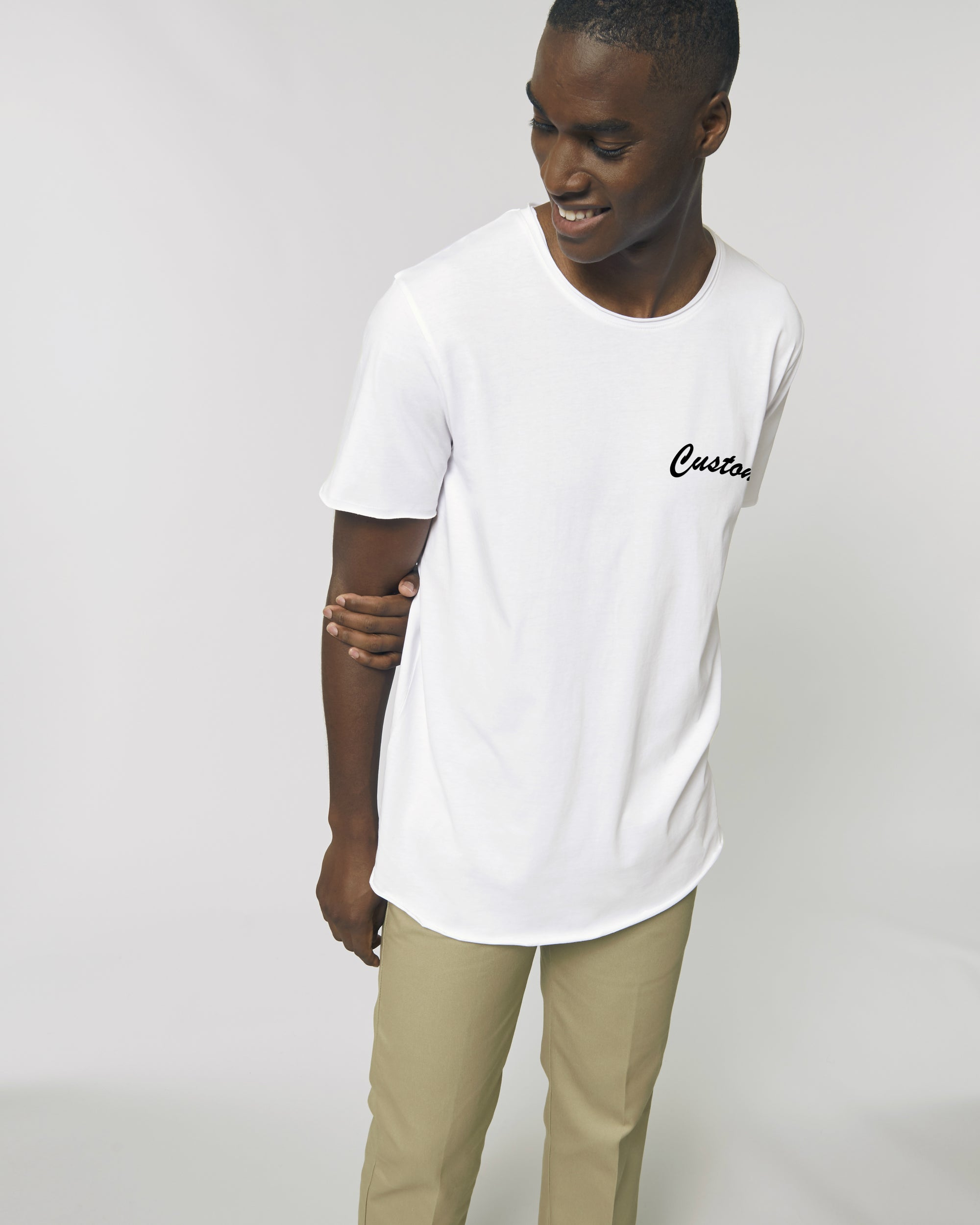 MEN'S RAW EDGE LONG LENGTH T-SHIRT - customisable left chest embroidery