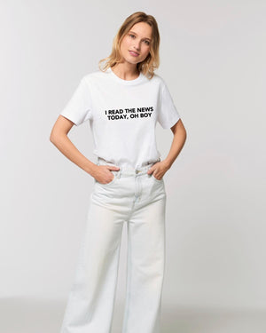 'I READ THE NEWS TODAY, OH BOY' EMBROIDERED UNISEX MEDIUM FIT ORGANIC COTTON T-SHIRT