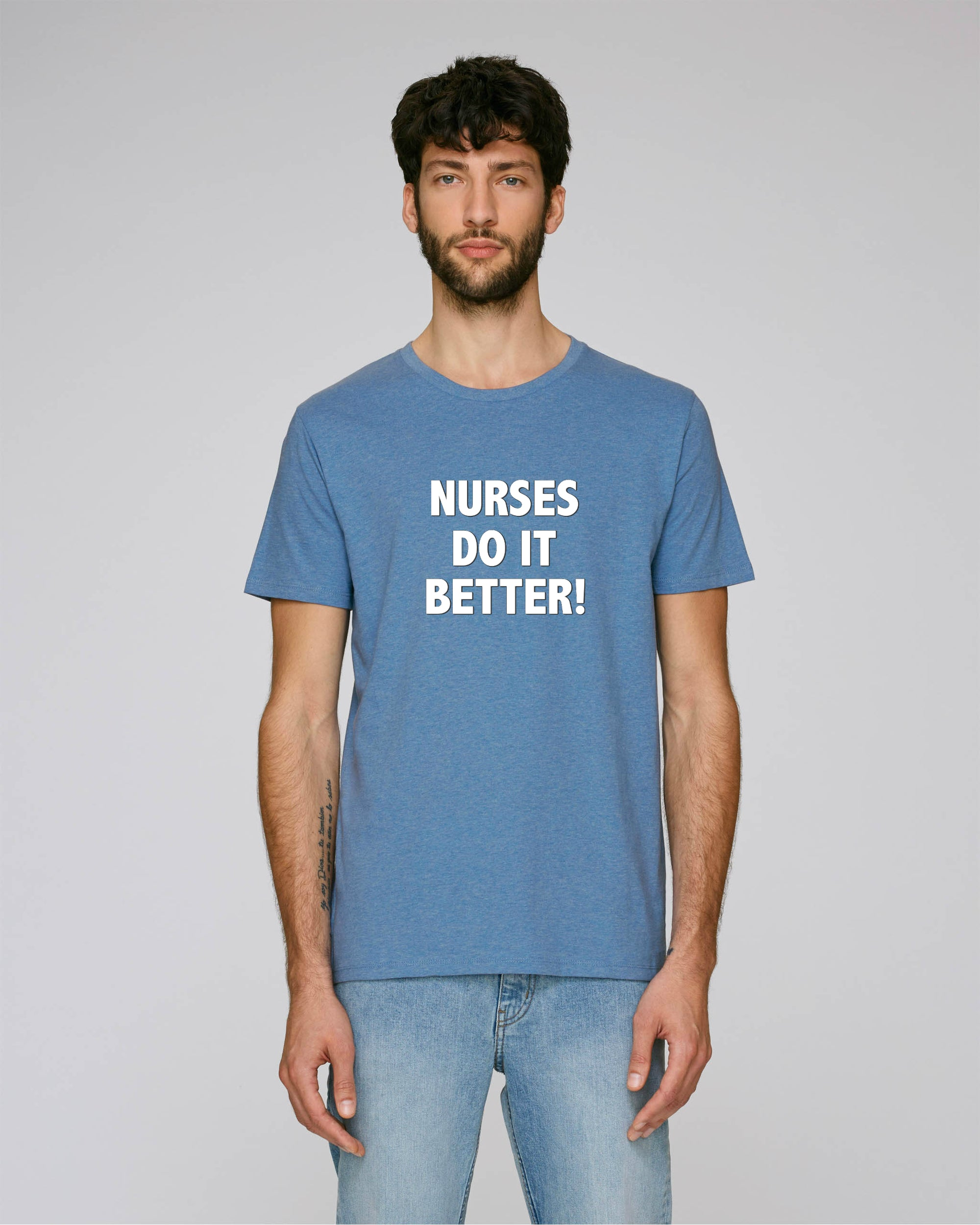'NURSES DO IT BETTER' EMBROIDERED FITTED ORGANIC COTTON UNISEX T-SHIRT