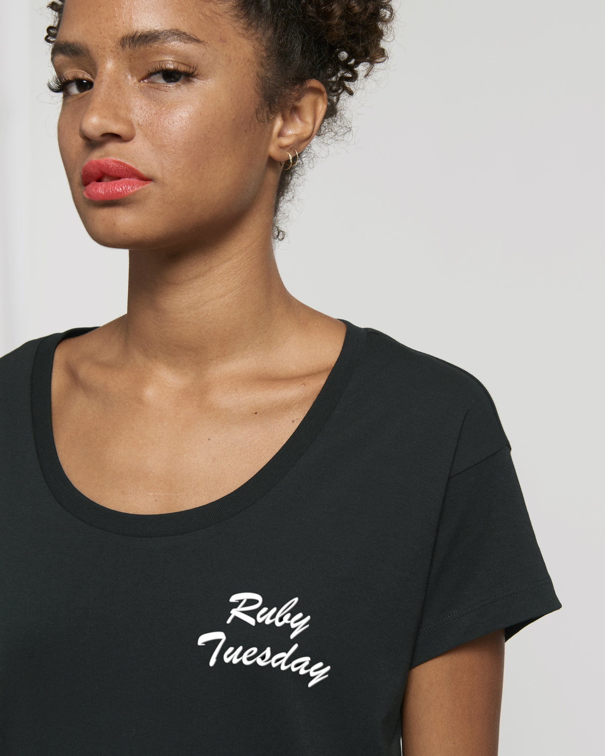 'RUBY TUESDAY' EMBROIDERED WOMEN'S SCOOP NECK RELAXED FIT ORGANIC COTTON T-SHIRT