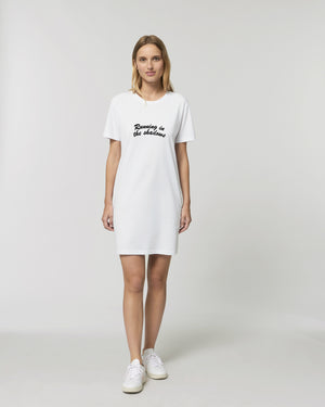 'RUNNING IN THE SHADOWS' EMBROIDERED WOMEN'S ORGANIC COTTON T-SHIRT DRESS