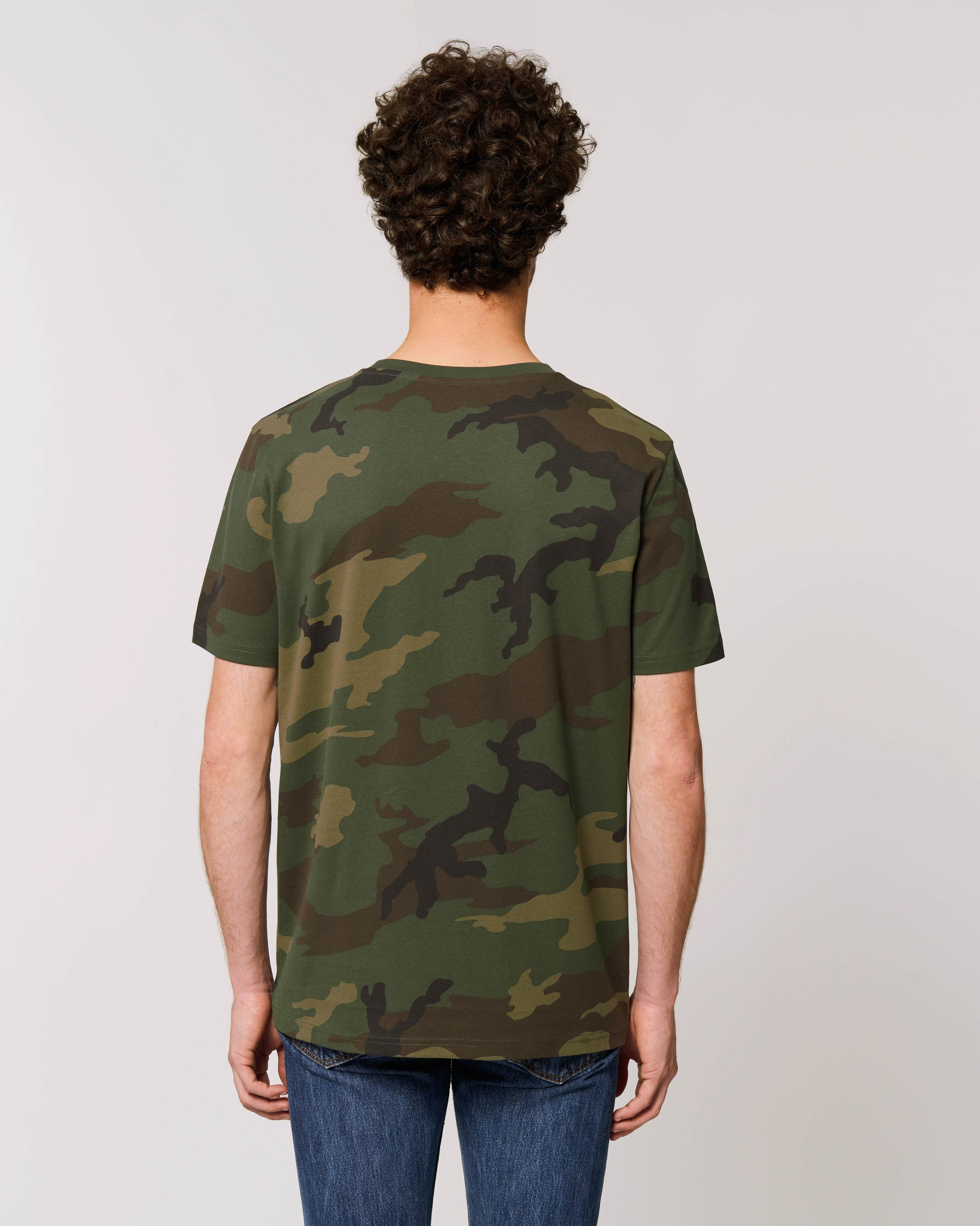 'LUST FOR LIFE' EMBROIDERED UNISEX CAMO PRINT ORGANIC COTTON T-SHIRT