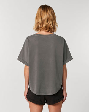 WOMEN'S GARMENT DYED ORGANIC COTTON 'COLLIDER VINTAGE' OVERSIZED T-SHIRT - customisable centre chest embroidery