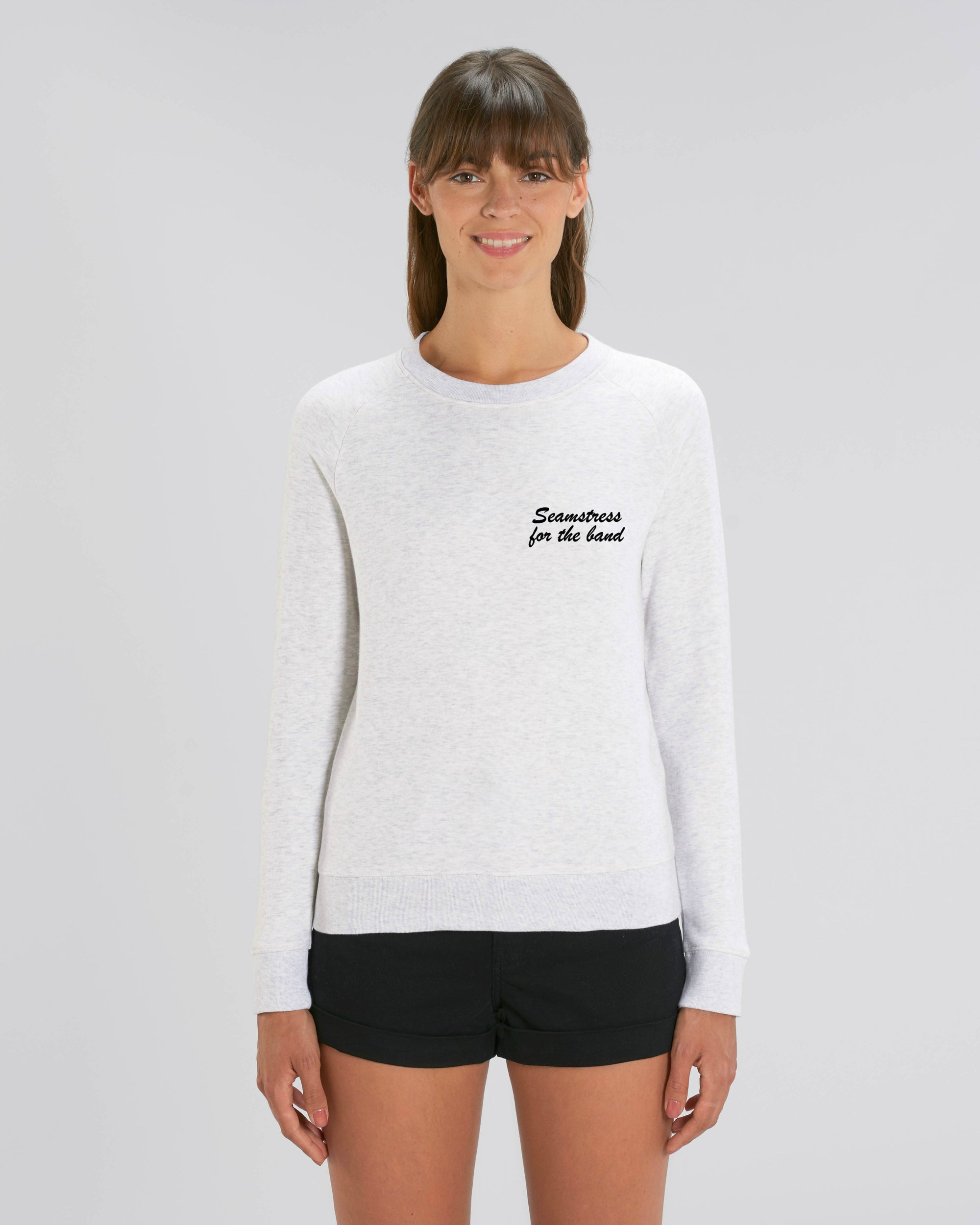 'SEAMSTRESS FOR THE BAND' LEFT CHEST EMBROIDERED WOMEN'S ORGANIC COTTON SWEATSHIRT