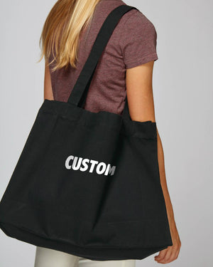 LARGE UNISEX CANVAS SHOPPING BAG - customisable embroidered text
