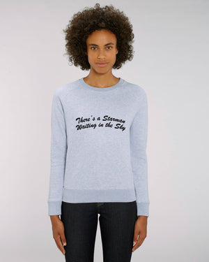'THERE'S A STARMAN WAITING IN THE SKY' EMBROIDERED WOMEN'S ORGANIC COTTON SWEATSHIRT