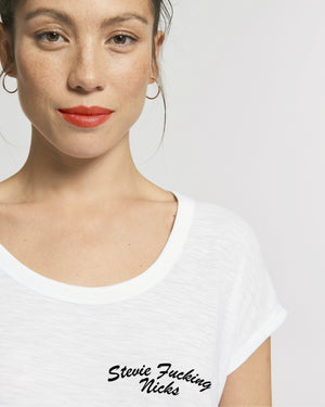 'STEVIE F*CKING NICKS' LEFT CHEST EMBROIDERED WOMEN'S ROLLED SLEEVE ORGANIC COTTON SLUB T-SHIRT