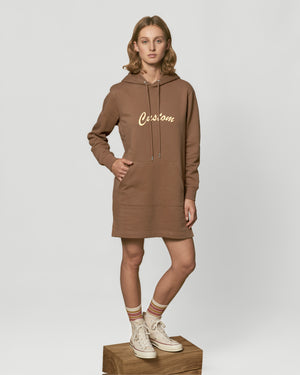 WOMEN'S ORGANIC COTTON HOODIE 'STREETER' DRESS - customisable centre chest embroidery