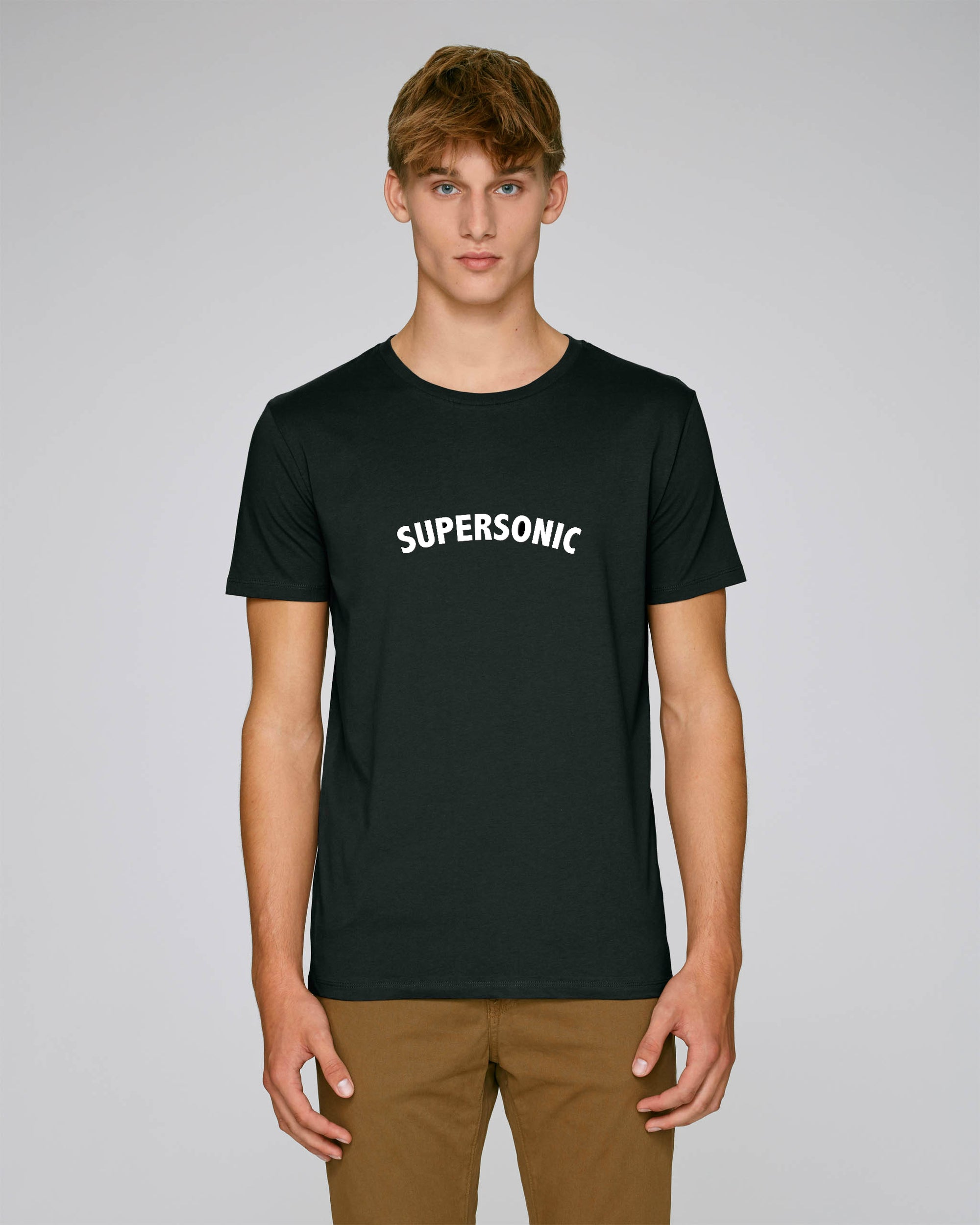 'SUPERSONIC' EMBROIDERED FITTED ORGANIC COTTON UNISEX T-SHIRT
