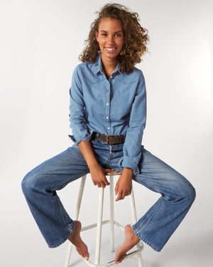 WOMEN'S ORGANIC COTTON 'INSPIRES' FADED DENIM SHIRT - customisable centre back embroidery