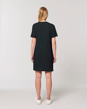 WOMEN'S ORGANIC COTTON T-SHIRT 'SPINNER' DRESS - customisable left chest embroidery