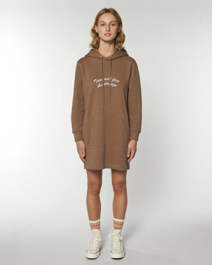 'TURN AND FACE THE STRANGE' EMBROIDERED WOMEN'S ORGANIC COTTON HOODIE DRESS