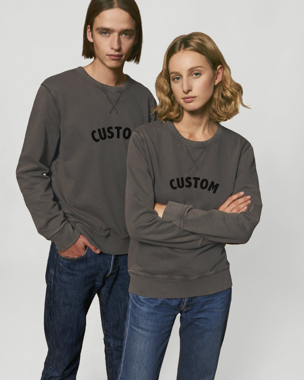 UNISEX VINTAGE GARMENT DYED CREW NECK SWEATSHIRT - customisable centre chest embroidery