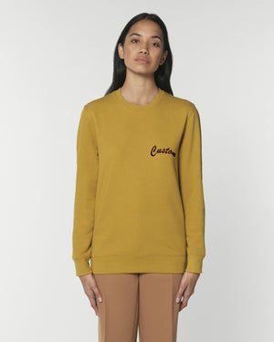 WOMEN'S BRUSHED ORGANIC COTTON CREW NECK SWEATSHIRT - customisable left chest embroidery