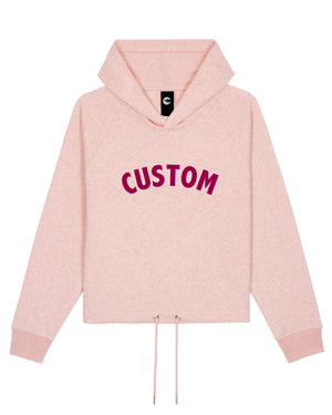 WOMEN'S CROPPED ORGANIC COTTON HOODIE - customisable centre chest embroidery