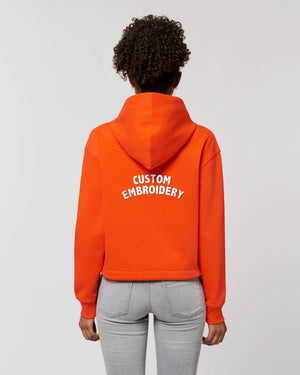 WOMEN'S CROPPED ZIP-THRU ORGANIC COTTON HOODIE - customisable centre back embroidery