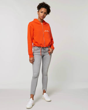 WOMEN'S CROPPED ZIP-THRU ORGANIC COTTON 'BOXER' HOODIE - customisable left chest embroidery